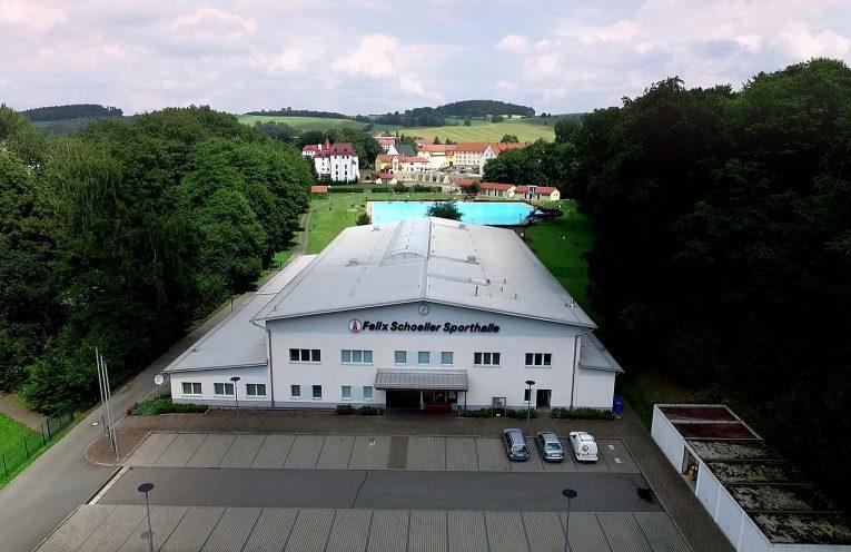 Luftansicht der Felix Schöller Halle